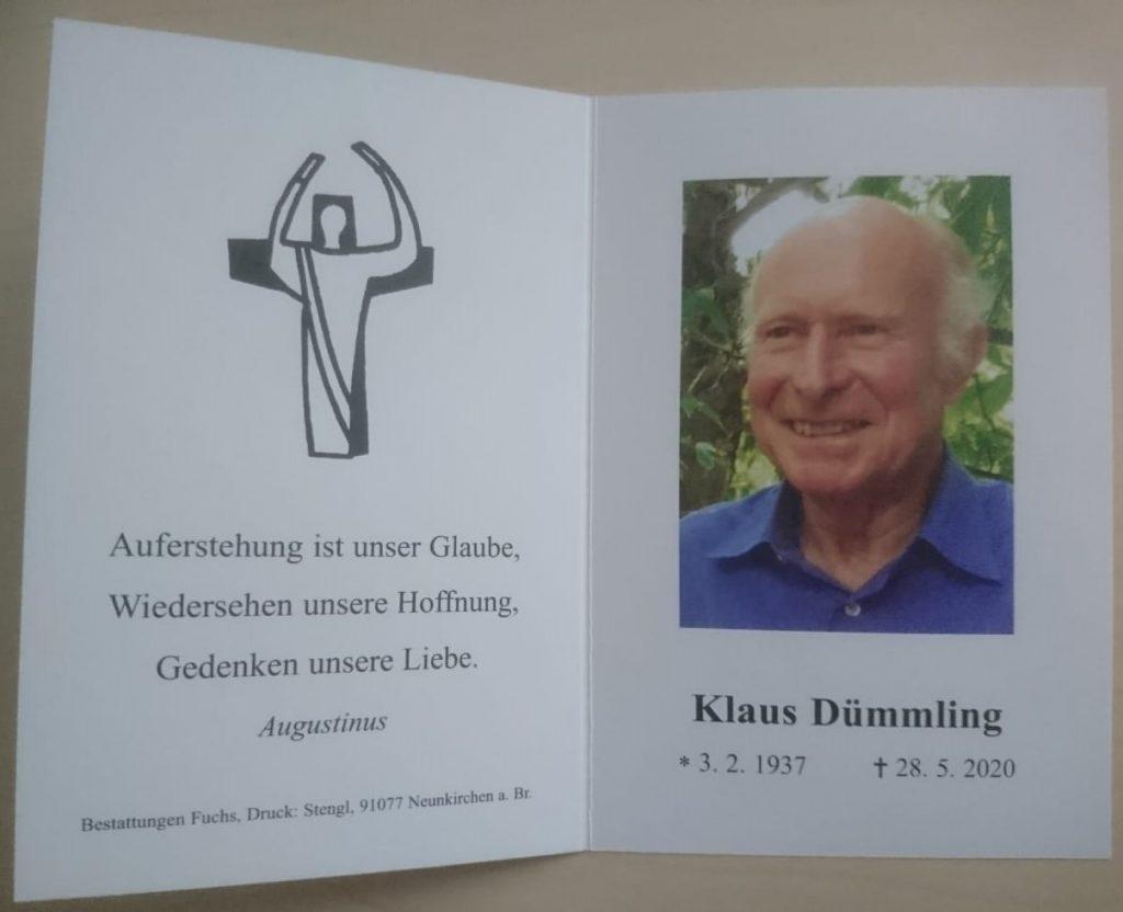 Trauerkarte von Klaus Dümmling